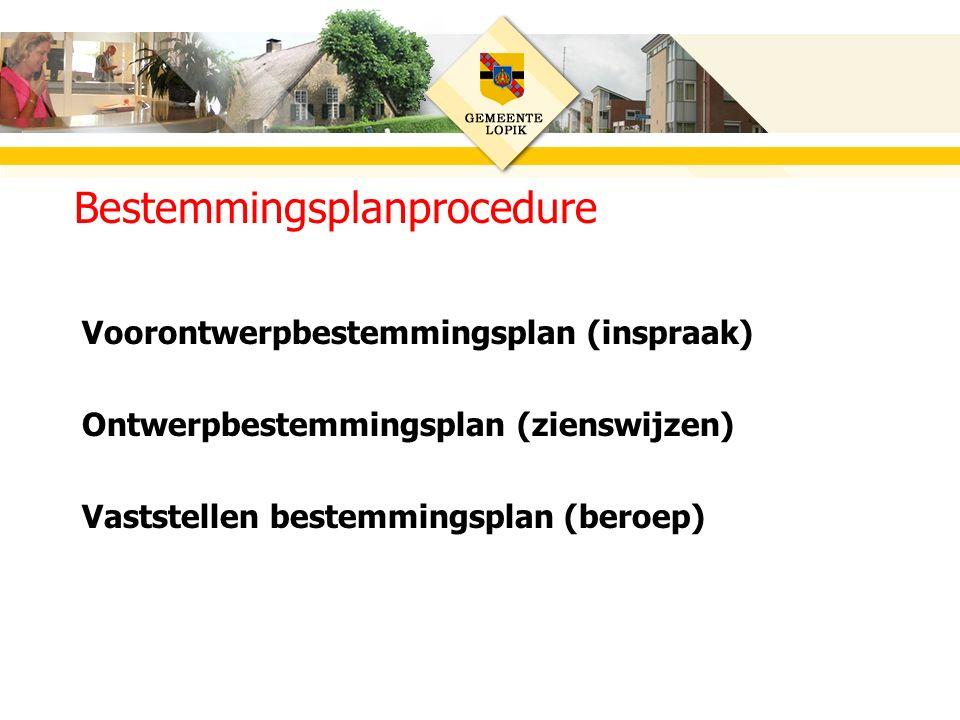Voorontwerpbestemmingsplan (inspraak) Ontwerpbestemmingsplan (zienswijzen) Vaststellen bestemmingsplan (beroep) Bestemmingsplanprocedure
