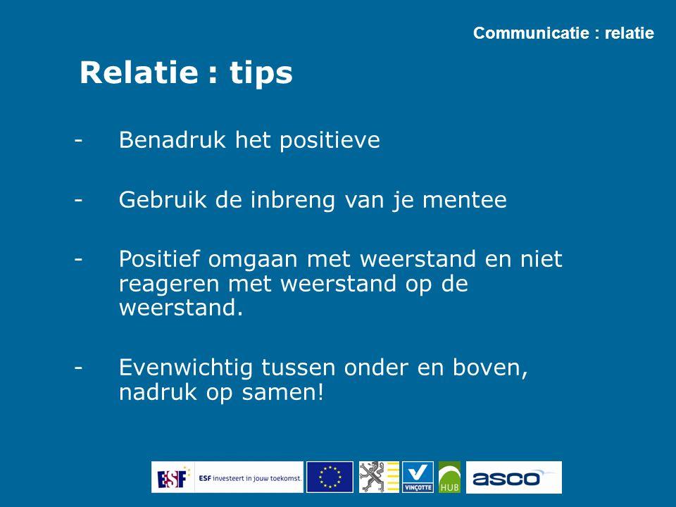 Relatie : tips -Benadruk het positieve -Gebruik de inbreng van je mentee -Positief omgaan met weerstand en niet reageren met weerstand op de weerstand