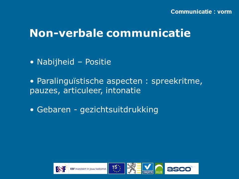 15 Non-verbale communicatie Communicatie : vorm Nabijheid – Positie Paralinguïstische aspecten : spreekritme, pauzes, articuleer, intonatie Gebaren - gezichtsuitdrukking
