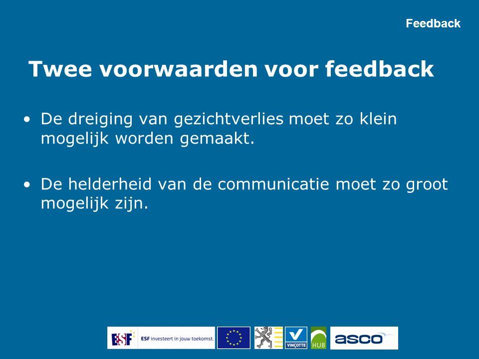 Twee voorwaarden voor feedback De dreiging van gezichtverlies moet zo klein mogelijk worden gemaakt. De helderheid van de communicatie moet zo groot m