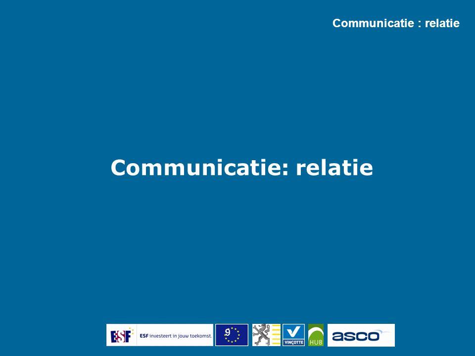 9 Communicatie : relatie