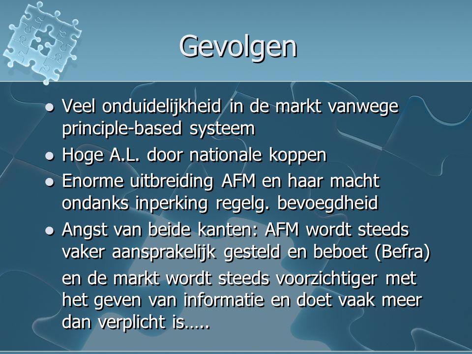 Gevolgen Veel onduidelijkheid in de markt vanwege principle-based systeem Hoge A.L.