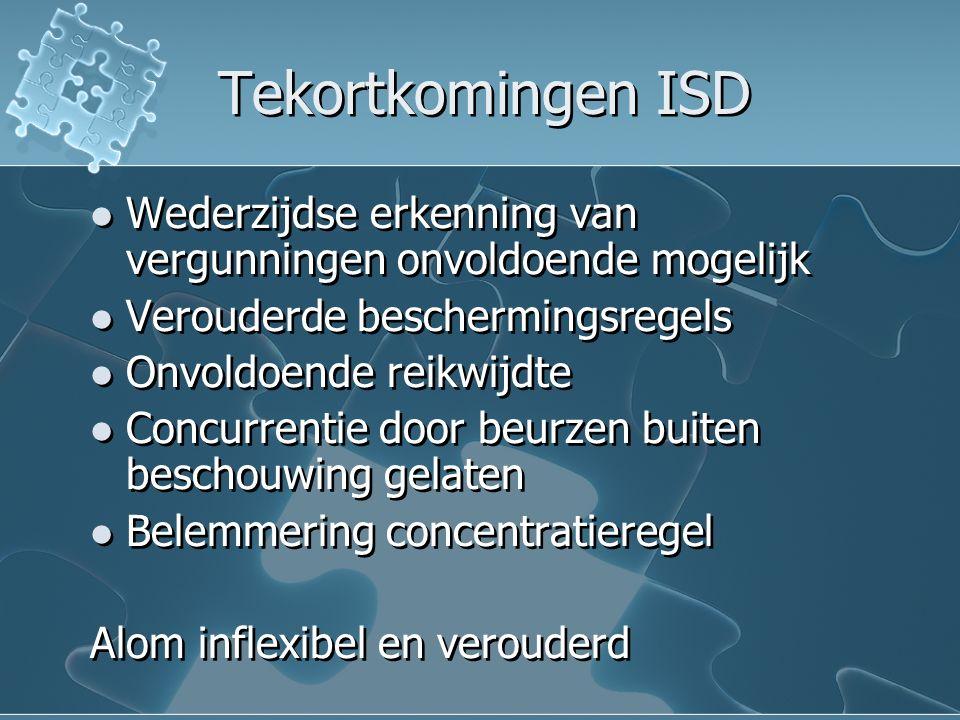 Tekortkomingen ISD Wederzijdse erkenning van vergunningen onvoldoende mogelijk Verouderde beschermingsregels Onvoldoende reikwijdte Concurrentie door