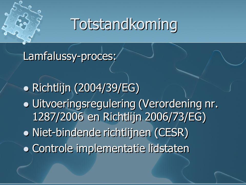 Totstandkoming Lamfalussy-proces: Richtlijn (2004/39/EG) Uitvoeringsregulering (Verordening nr. 1287/2006 en Richtlijn 2006/73/EG) Niet-bindende richt