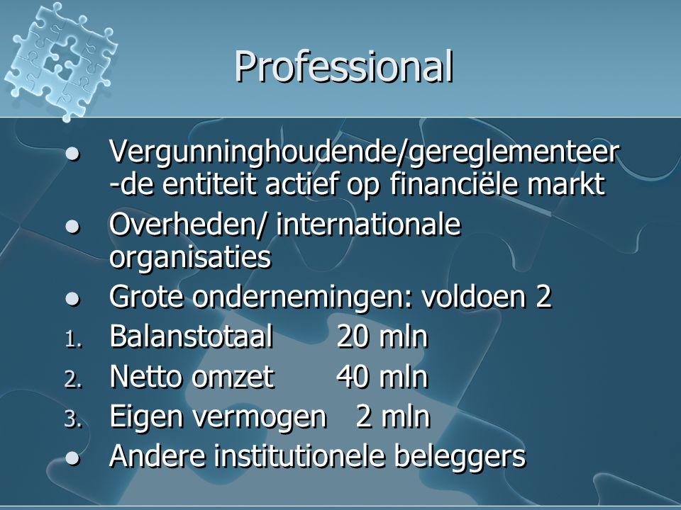 Professional Vergunninghoudende/gereglementeer -de entiteit actief op financiële markt Overheden/ internationale organisaties Grote ondernemingen: vol