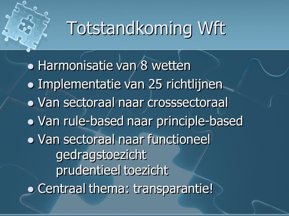 Totstandkoming Wft Harmonisatie van 8 wetten Implementatie van 25 richtlijnen Van sectoraal naar crosssectoraal Van rule-based naar principle-based Van sectoraal naar functioneel gedragstoezicht prudentieel toezicht Centraal thema: transparantie.