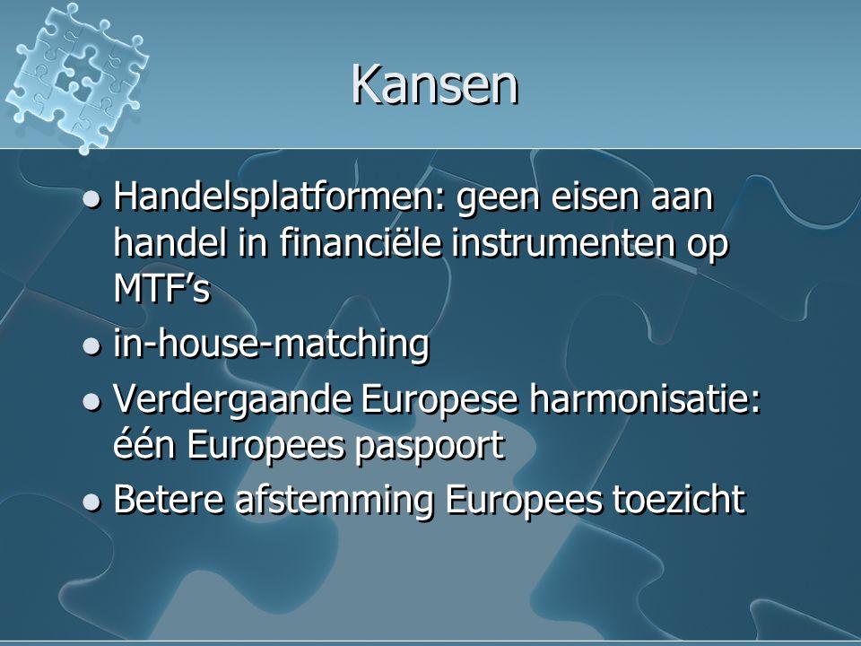 Kansen Handelsplatformen: geen eisen aan handel in financiële instrumenten op MTF's in-house-matching Verdergaande Europese harmonisatie: één Europees paspoort Betere afstemming Europees toezicht Handelsplatformen: geen eisen aan handel in financiële instrumenten op MTF's in-house-matching Verdergaande Europese harmonisatie: één Europees paspoort Betere afstemming Europees toezicht