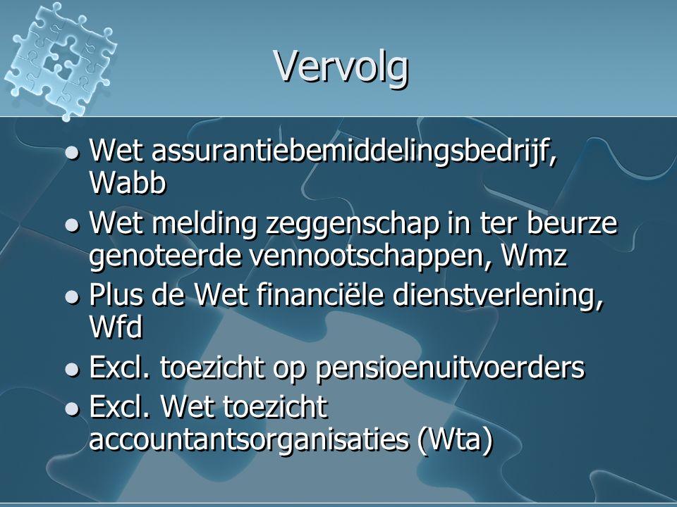 Vervolg Wet assurantiebemiddelingsbedrijf, Wabb Wet melding zeggenschap in ter beurze genoteerde vennootschappen, Wmz Plus de Wet financiële dienstverlening, Wfd Excl.