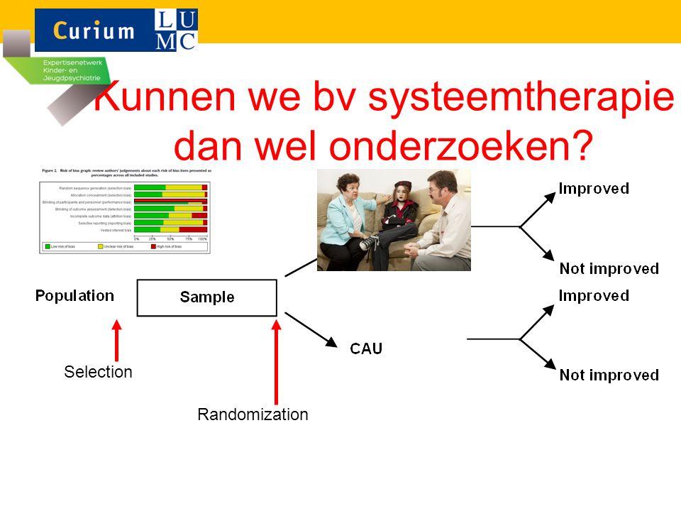 Kunnen we bv systeemtherapie dan wel onderzoeken? Selection Randomization