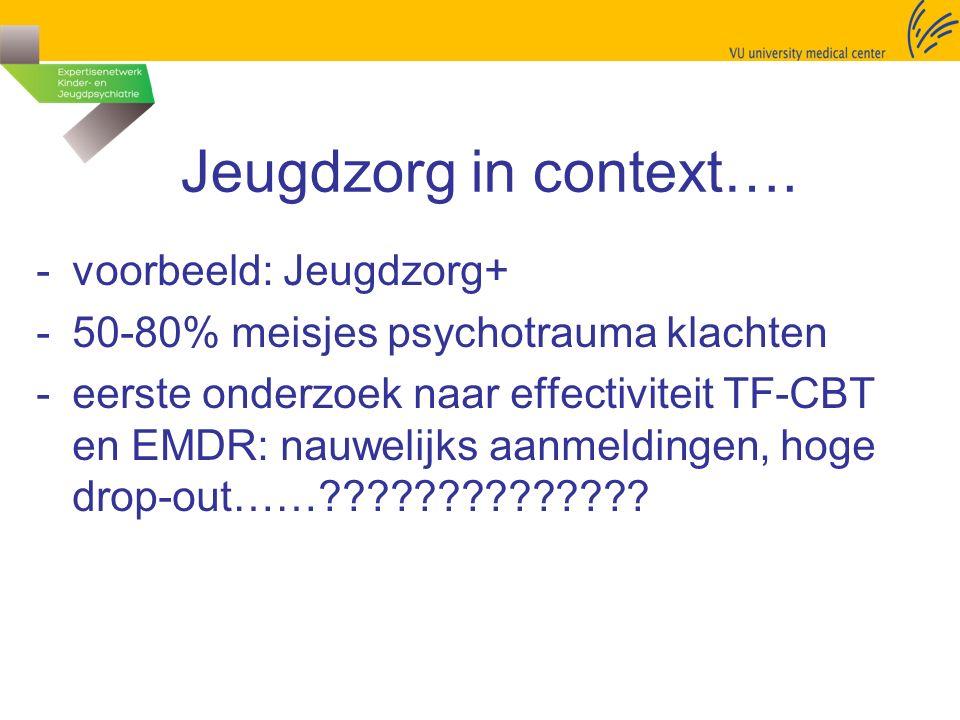 Jeugdzorg in context…. -voorbeeld: Jeugdzorg+ -50-80% meisjes psychotrauma klachten -eerste onderzoek naar effectiviteit TF-CBT en EMDR: nauwelijks aa