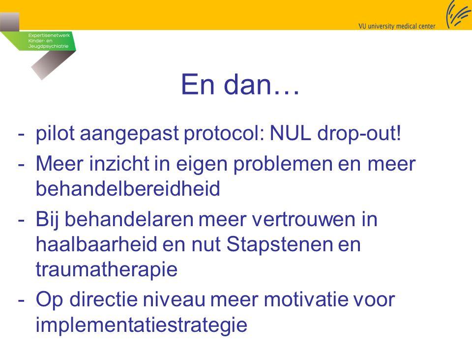 En dan… -pilot aangepast protocol: NUL drop-out! -Meer inzicht in eigen problemen en meer behandelbereidheid -Bij behandelaren meer vertrouwen in haal