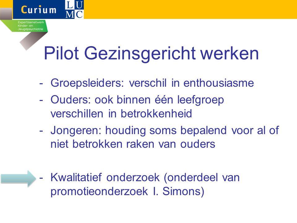 Pilot Gezinsgericht werken -Groepsleiders: verschil in enthousiasme -Ouders: ook binnen één leefgroep verschillen in betrokkenheid -Jongeren: houding