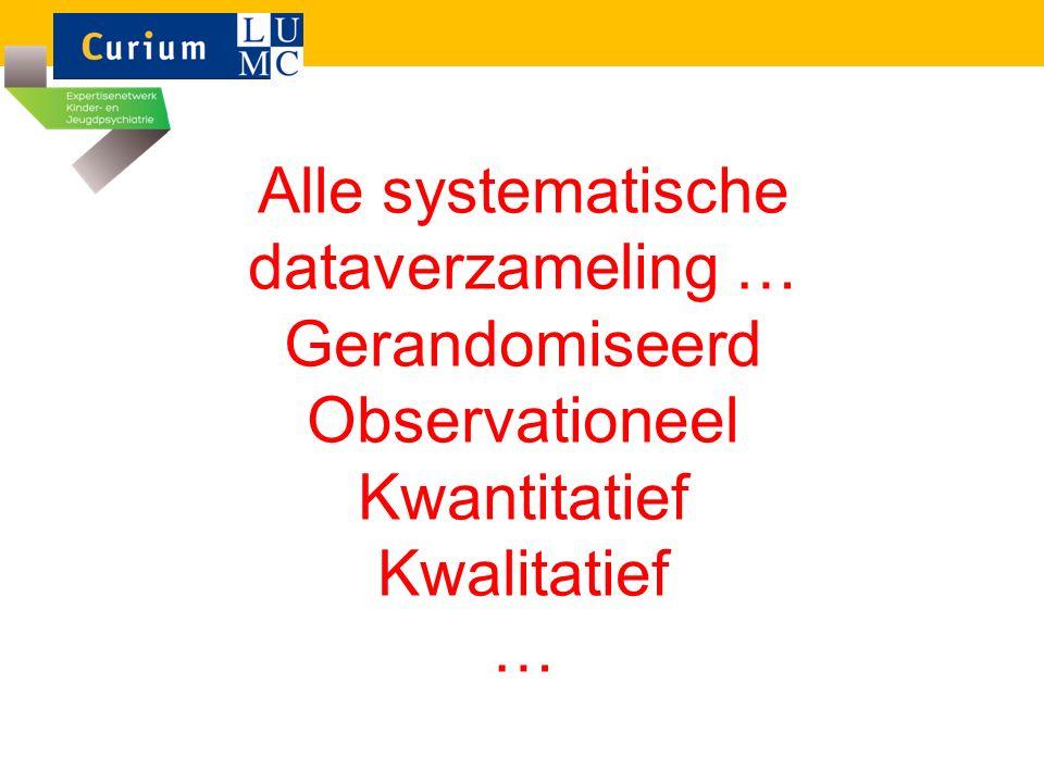 Alle systematische dataverzameling … Gerandomiseerd Observationeel Kwantitatief Kwalitatief …