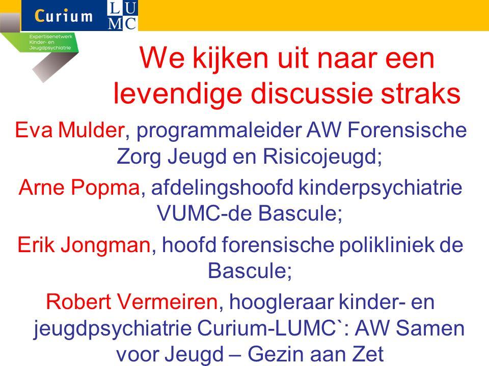 We kijken uit naar een levendige discussie straks Eva Mulder, programmaleider AW Forensische Zorg Jeugd en Risicojeugd; Arne Popma, afdelingshoofd kin
