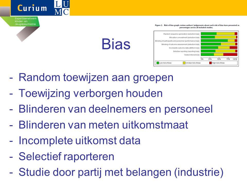 Bias -Random toewijzen aan groepen -Toewijzing verborgen houden -Blinderen van deelnemers en personeel -Blinderen van meten uitkomstmaat -Incomplete u