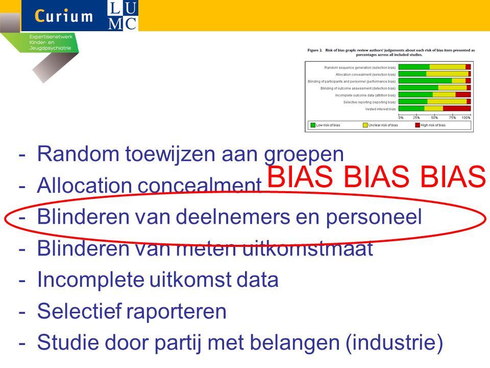 BIAS BIAS BIAS -Random toewijzen aan groepen -Allocation concealment -Blinderen van deelnemers en personeel -Blinderen van meten uitkomstmaat -Incomplete uitkomst data -Selectief raporteren -Studie door partij met belangen (industrie)