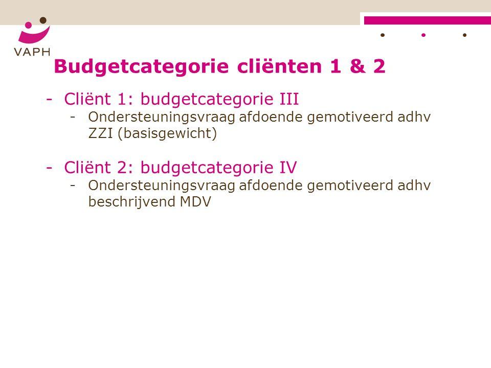 Budgetcategorie cliënten 1 & 2 -Cliënt 1: budgetcategorie III -Ondersteuningsvraag afdoende gemotiveerd adhv ZZI (basisgewicht) -Cliënt 2: budgetcategorie IV -Ondersteuningsvraag afdoende gemotiveerd adhv beschrijvend MDV