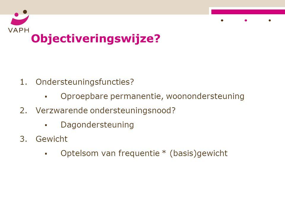 Objectiveringswijze. 1.Ondersteuningsfuncties.