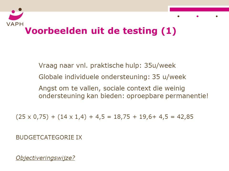Voorbeelden uit de testing (1) Vraag naar vnl.