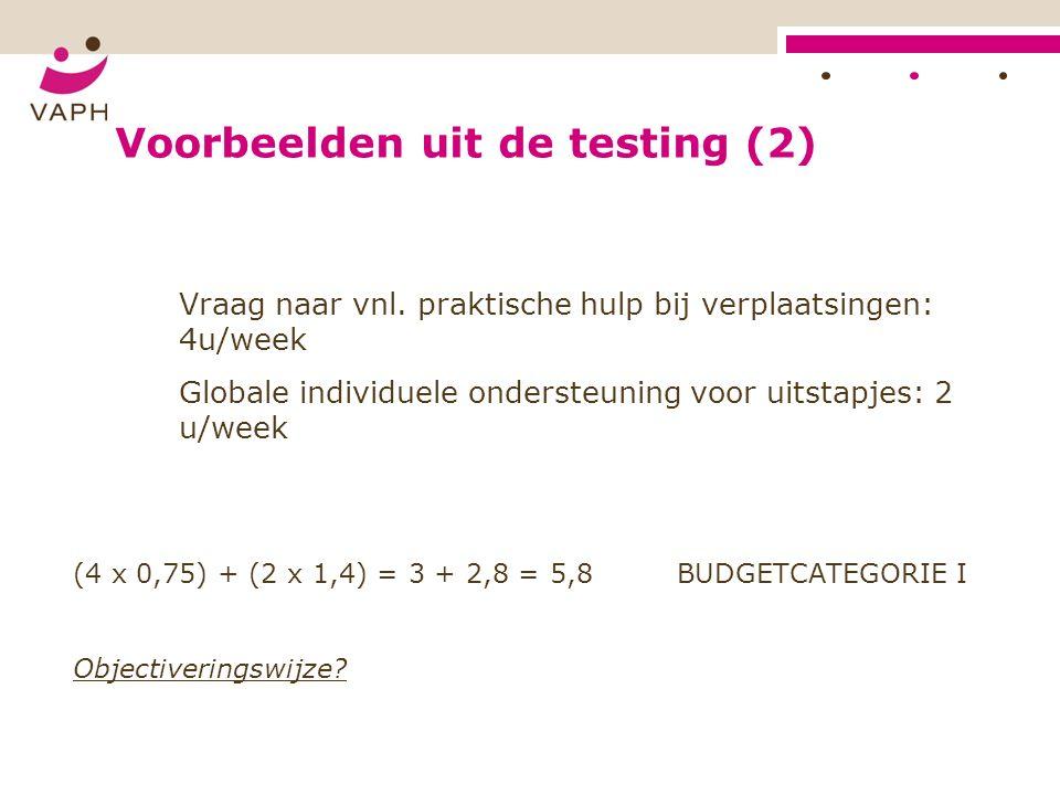 Voorbeelden uit de testing (2) Vraag naar vnl.