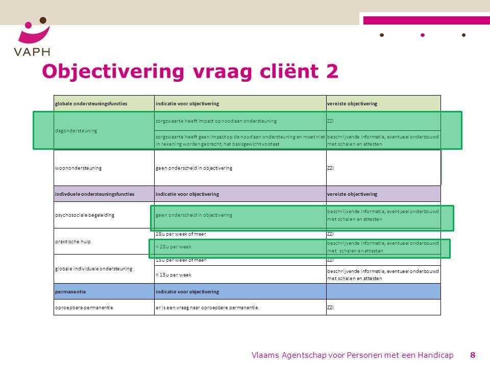 Objectivering vraag cliënt 2 Vlaams Agentschap voor Personen met een Handicap8
