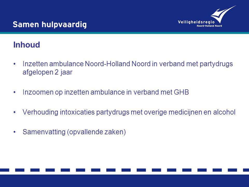 Inhoud Inzetten ambulance Noord-Holland Noord in verband met partydrugs afgelopen 2 jaar Inzoomen op inzetten ambulance in verband met GHB Verhouding intoxicaties partydrugs met overige medicijnen en alcohol Samenvatting (opvallende zaken)
