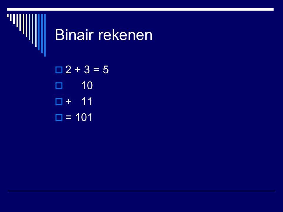 Binair rekenen  2 + 3 = 5  10  + 11  = 101