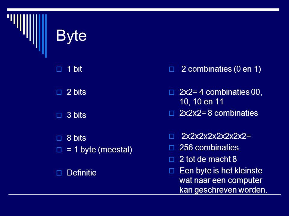 Byte  1 bit  2 bits  3 bits  8 bits  = 1 byte (meestal)  Definitie  2 combinaties (0 en 1)  2x2= 4 combinaties 00, 10, 10 en 11  2x2x2= 8 combinaties  2x2x2x2x2x2x2x2=  256 combinaties  2 tot de macht 8  Een byte is het kleinste wat naar een computer kan geschreven worden.