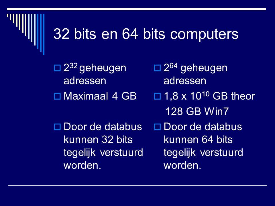 32 bits en 64 bits computers  2 32 geheugen adressen  Maximaal 4 GB  Door de databus kunnen 32 bits tegelijk verstuurd worden.