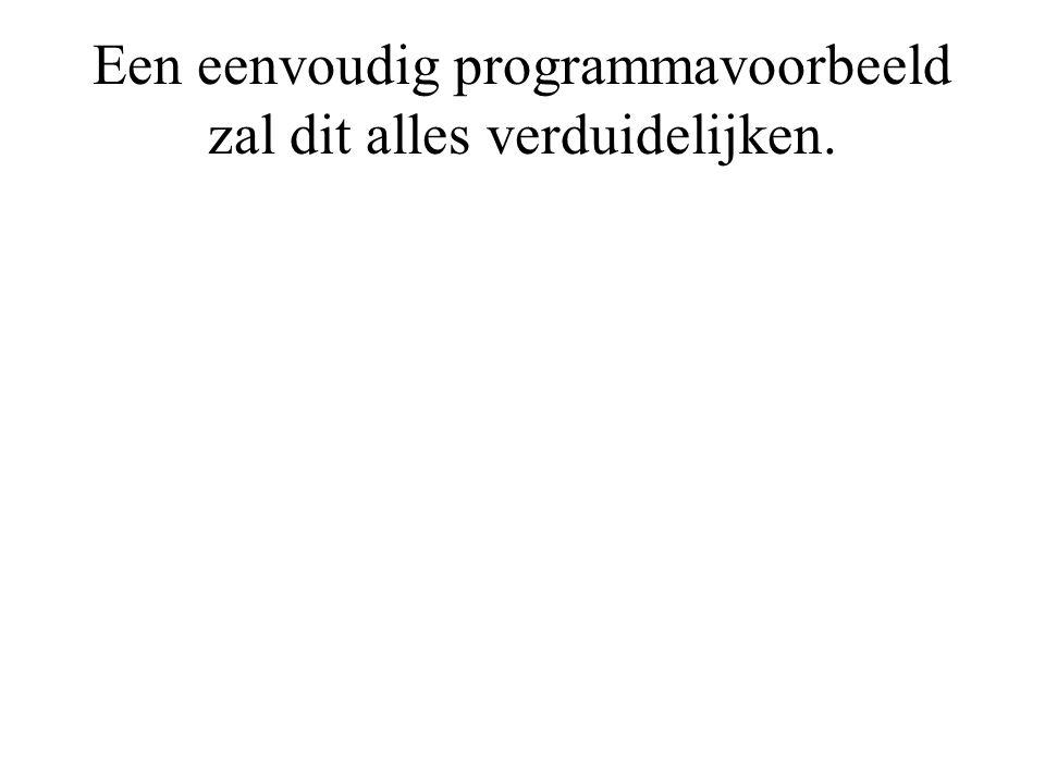 Een eenvoudig programmavoorbeeld zal dit alles verduidelijken.