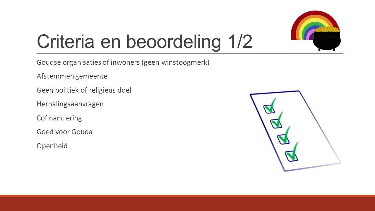 Criteria en beoordeling 1/2 Goudse organisaties of inwoners (geen winstoogmerk) Afstemmen gemeente Geen politiek of religieus doel Herhalingsaanvragen