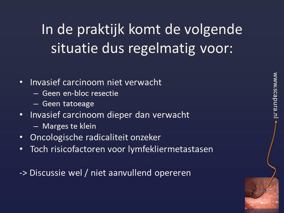 In de praktijk komt de volgende situatie dus regelmatig voor: Invasief carcinoom niet verwacht – Geen en-bloc resectie – Geen tatoeage Invasief carcinoom dieper dan verwacht – Marges te klein Oncologische radicaliteit onzeker Toch risicofactoren voor lymfekliermetastasen -> Discussie wel / niet aanvullend opereren www.scapura.nl