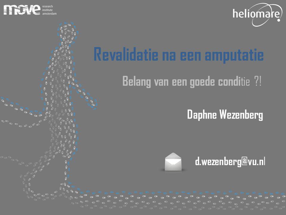 (potentiële) belangenverstrengelingGeen Voor bijeenkomst mogelijk relevante relaties met bedrijven Geen  Sponsoring of onderzoeksgeld  Honorarium of andere (financiële) vergoeding  Aandeelhouder  Andere relatie, namelijk …  Deel onderzoek gefinancierd door Wetenschappelijk College Fysiotherapie (WCF)  Deel VU Universiteit Amsterdam en Heliomare R&D Disclosure belangen spreker Daphne Wezenberg, vrijdag 21 November, 2014 ISPO: 28 Maart 20142