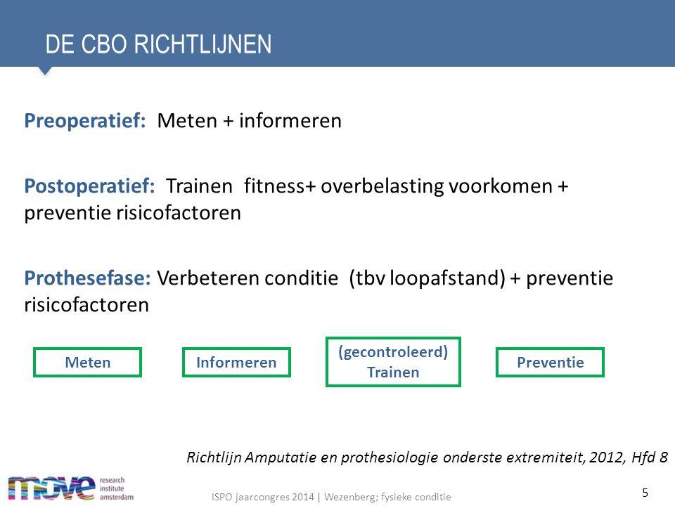 ISPO jaarcongres 2014   Wezenberg; fysieke conditie INHOUDSOPGAVE Inleiding; richtlijnen en literatuur Meten van fysieke conditie De fysieke conditie Effect huidige revalidatie en training 16