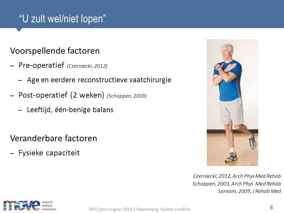 ISPO jaarcongres 2014   Wezenberg; fysieke conditie Deelnemende patiënten Deelnemers op T 0 Aantal (man/vrouw) 33 (29/4) Vasculair/niet-vasculair 29/4 Leeftijd (jaren) 57.9 (14.2) Gewicht (kg) 88.4 (18.4) BMI (kg*m 2 ) 26.7 (5.3) 23 10 alleen T 0 T 0 + T 1 34 33excludeerdIncludeerd # mensen in revalidatie Deelnemers op T 0 Deelnemers op T 0 and T 1 Aantal (man/vrouw) 33 (29/4)23 (21/2) Vasculair/niet-vasculair 29/421/2 Leeftijd (jaren) 57.9 (14.2)59.5 (14.5) Gewicht (kg) 88.4 (18.4)85.2 (17.1) BMI (kg*m 2 ) 26.7 (5.3)25.8 (4.8) 17