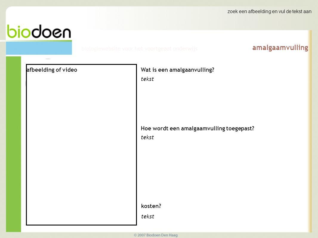 zoek een afbeelding en vul de tekst aan amalgaamvulling afbeelding of video Wat is een amalgaanvulling? tekst Hoe wordt een amalgaamvulling toegepast?