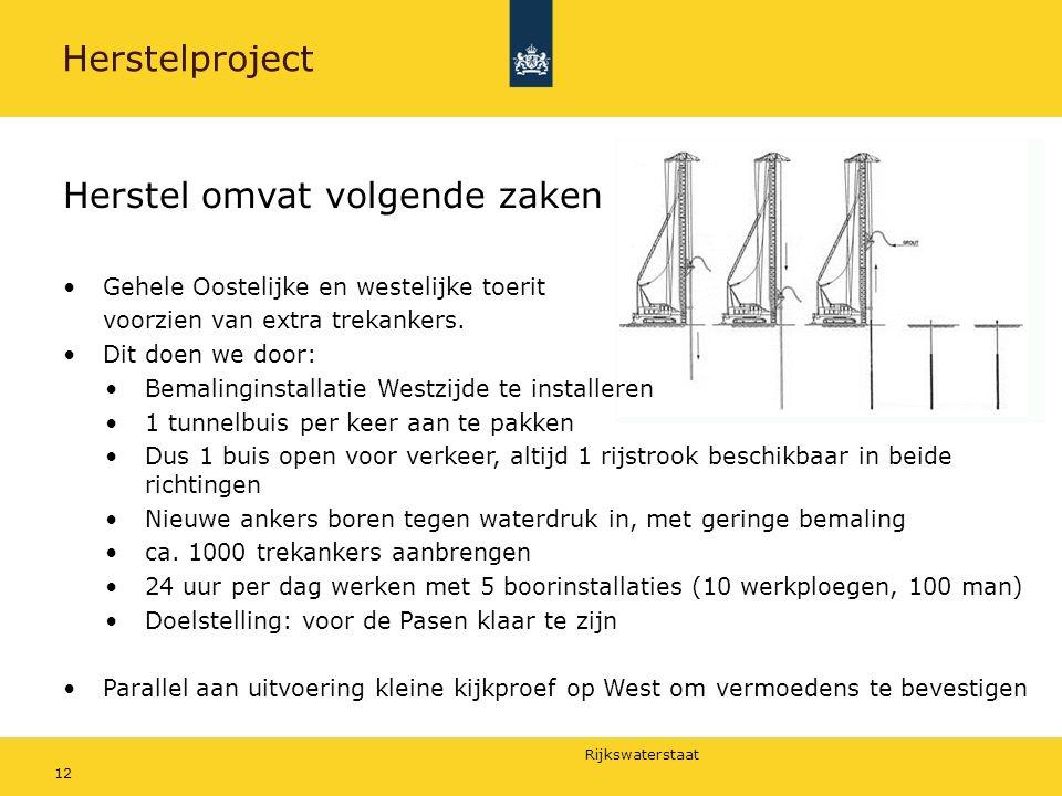 Rijkswaterstaat 12 Herstelproject Herstel omvat volgende zaken Gehele Oostelijke en westelijke toerit voorzien van extra trekankers.