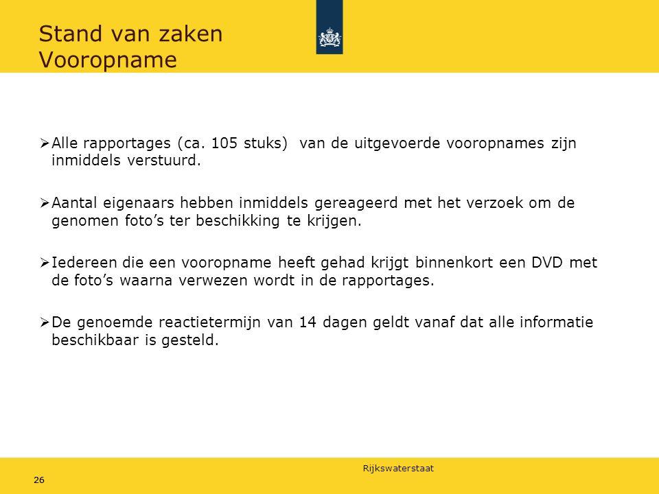 Rijkswaterstaat 26 Stand van zaken Vooropname  Alle rapportages (ca.
