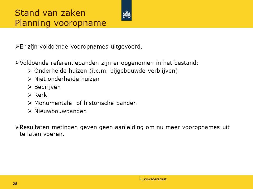 Rijkswaterstaat 28 Stand van zaken Planning vooropname  Er zijn voldoende vooropnames uitgevoerd.