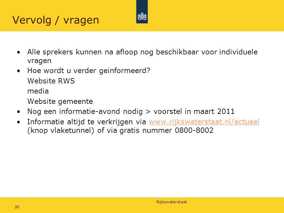 Rijkswaterstaat 30 Vervolg / vragen Alle sprekers kunnen na afloop nog beschikbaar voor individuele vragen Hoe wordt u verder geinformeerd.