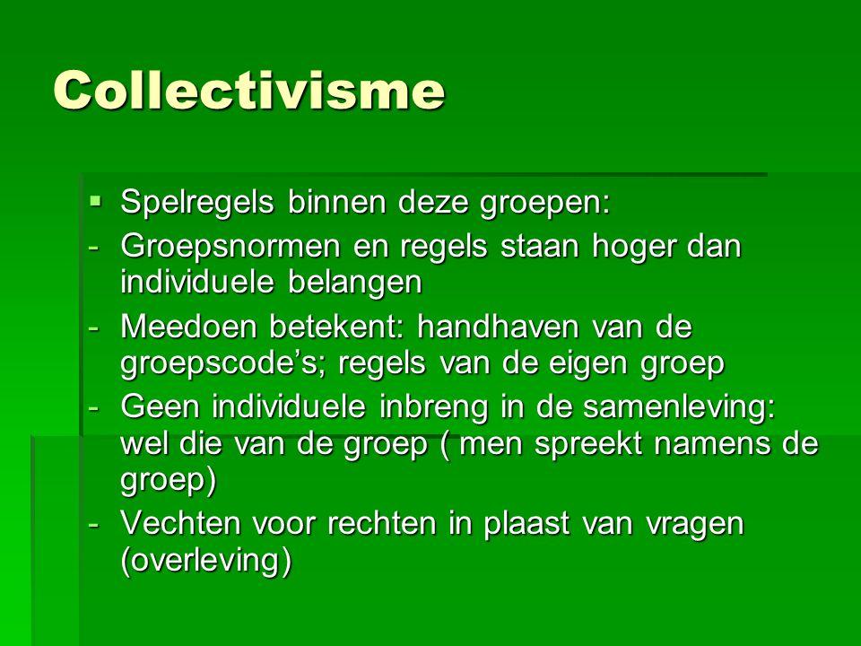 Collectivisme  Spelregels binnen deze groepen: -Groepsnormen en regels staan hoger dan individuele belangen -Meedoen betekent: handhaven van de groepscode's; regels van de eigen groep -Geen individuele inbreng in de samenleving: wel die van de groep ( men spreekt namens de groep) -Vechten voor rechten in plaast van vragen (overleving)