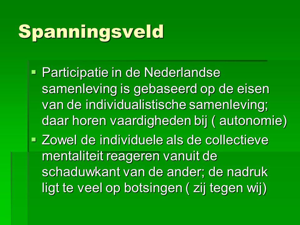 Spanningsveld  Participatie in de Nederlandse samenleving is gebaseerd op de eisen van de individualistische samenleving; daar horen vaardigheden bij ( autonomie)  Zowel de individuele als de collectieve mentaliteit reageren vanuit de schaduwkant van de ander; de nadruk ligt te veel op botsingen ( zij tegen wij)