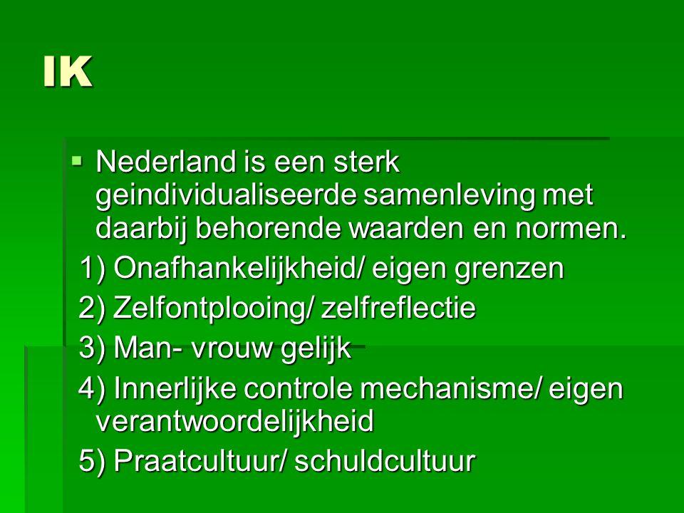 IK  Nederland is een sterk geindividualiseerde samenleving met daarbij behorende waarden en normen.