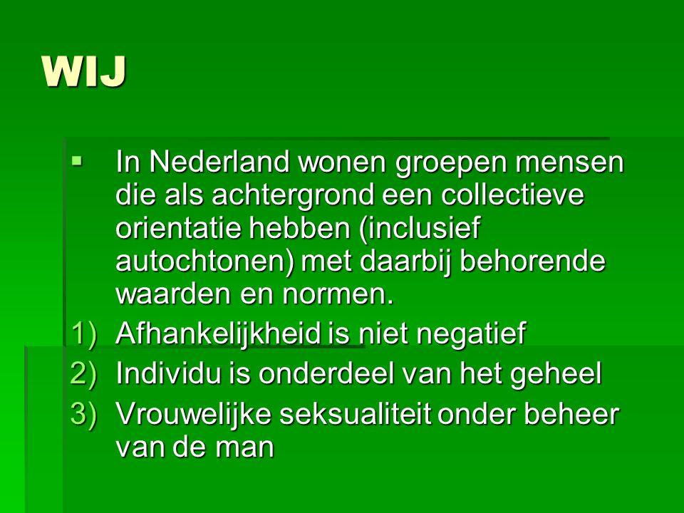 WIJ  In Nederland wonen groepen mensen die als achtergrond een collectieve orientatie hebben (inclusief autochtonen) met daarbij behorende waarden en normen.