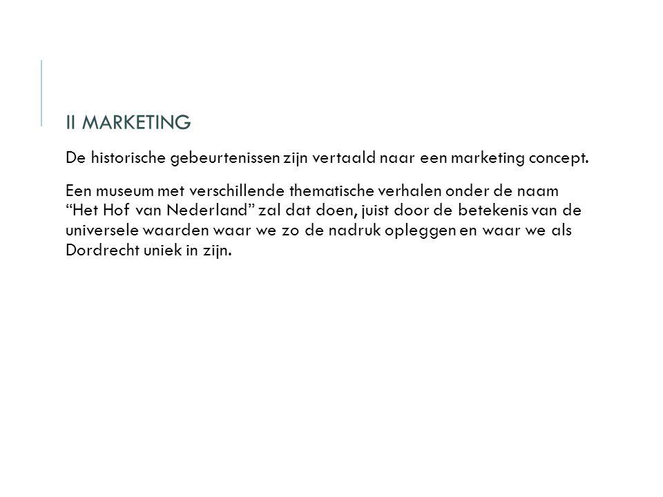 II MARKETING De historische gebeurtenissen zijn vertaald naar een marketing concept.