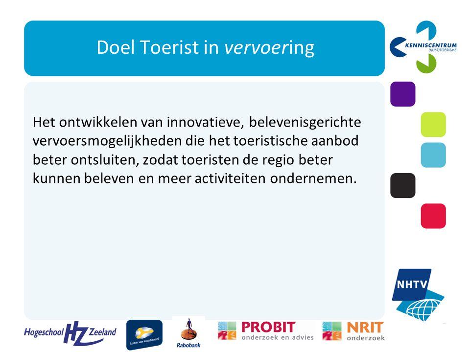Werkwijze Het project Toerist in vervoering verkent de markt en ontwikkelt, in nauwe samenwerking met clusters van MKB-ondernemers, innovatieve, belevenisgerichte mobiliteitsconcepten voor de regio Zuidwest- Nederland.