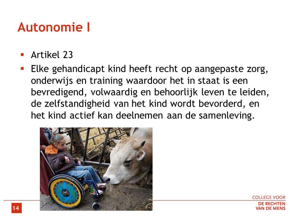 Autonomie I  Artikel 23  Elke gehandicapt kind heeft recht op aangepaste zorg, onderwijs en training waardoor het in staat is een bevredigend, volwaardig en behoorlijk leven te leiden, de zelfstandigheid van het kind wordt bevorderd, en het kind actief kan deelnemen aan de samenleving.