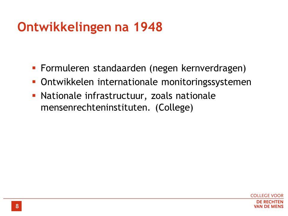 Ontwikkelingen na 1948  Formuleren standaarden (negen kernverdragen)  Ontwikkelen internationale monitoringssystemen  Nationale infrastructuur, zoa