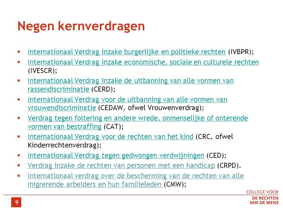 Negen kernverdragen  Internationaal Verdrag inzake burgerlijke en politieke rechten (IVBPR); Internationaal Verdrag inzake burgerlijke en politieke rechten  Internationaal Verdrag inzake economische, sociale en culturele rechten (IVESCR); Internationaal Verdrag inzake economische, sociale en culturele rechten  Internationaal Verdrag inzake de uitbanning van alle vormen van rassendiscriminatie (CERD); Internationaal Verdrag inzake de uitbanning van alle vormen van rassendiscriminatie  Internationaal Verdrag voor de uitbanning van alle vormen van vrouwendiscriminatie (CEDAW, ofwel Vrouwenverdrag); Internationaal Verdrag voor de uitbanning van alle vormen van vrouwendiscriminatie  Verdrag tegen foltering en andere wrede, onmenselijke of onterende vormen van bestraffing (CAT); Verdrag tegen foltering en andere wrede, onmenselijke of onterende vormen van bestraffing  Internationaal Verdrag voor de rechten van het kind (CRC, ofwel Kinderrechtenverdrag); Internationaal Verdrag voor de rechten van het kind  Internationaal Verdrag tegen gedwongen verdwijningen (CED); Internationaal Verdrag tegen gedwongen verdwijningen  Verdrag inzake de rechten van personen met een handicap (CRPD).