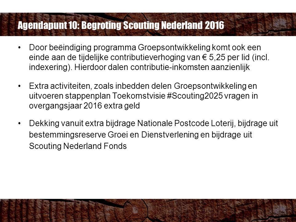 Agendapunt 10: Begroting Scouting Nederland 2016 Door beëindiging programma Groepsontwikkeling komt ook een einde aan de tijdelijke contributieverhoging van € 5,25 per lid (incl.
